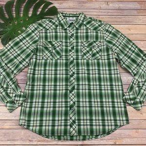 Mountain Khakis men's green plaid pearl snap shirt